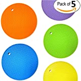 Safety Food Grade Set of (5) Premium, 5 in 1 Multipurpose Silicone Kitchen Tool: Trivets, Pot Holders, Spoon Rest, Jar Opener, Coaster ★ Heat Resistant Hot Pads ★Thick & Flexible ★ Great Gifts for Her
