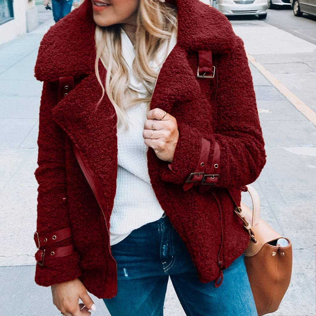 SADUORHAPPY Womens Jacket Winter Warm Outwear Ladies Solid Coat Overcoat Short Outercoat with Fashion Buckle
