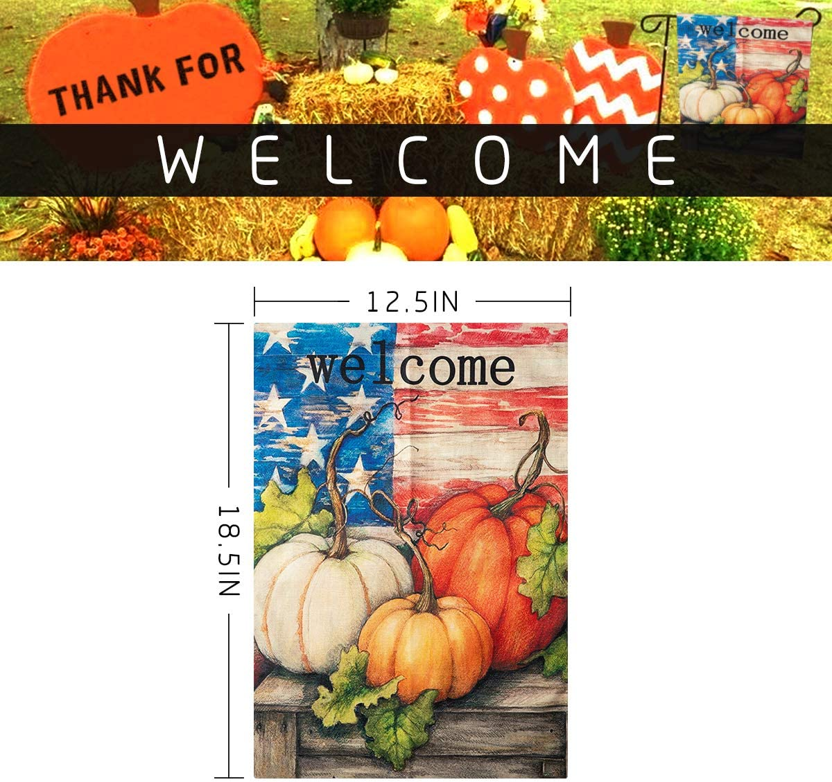 Apipi 18 X 12 Inch Welcome Fall Garden Flag Double Sided Patriotic Decorative Thanksgiving Autumn Harvest Pumpkin House Flag Rustic Country Burlap Garden Yard Flag For Home Seasonal Outdoor Decor