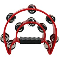 Ogrmar Double Row Handled Tambourine Metal Jingles Hand Held Percussion Drum with Ergonomic Handle Grip for Gift KTV…