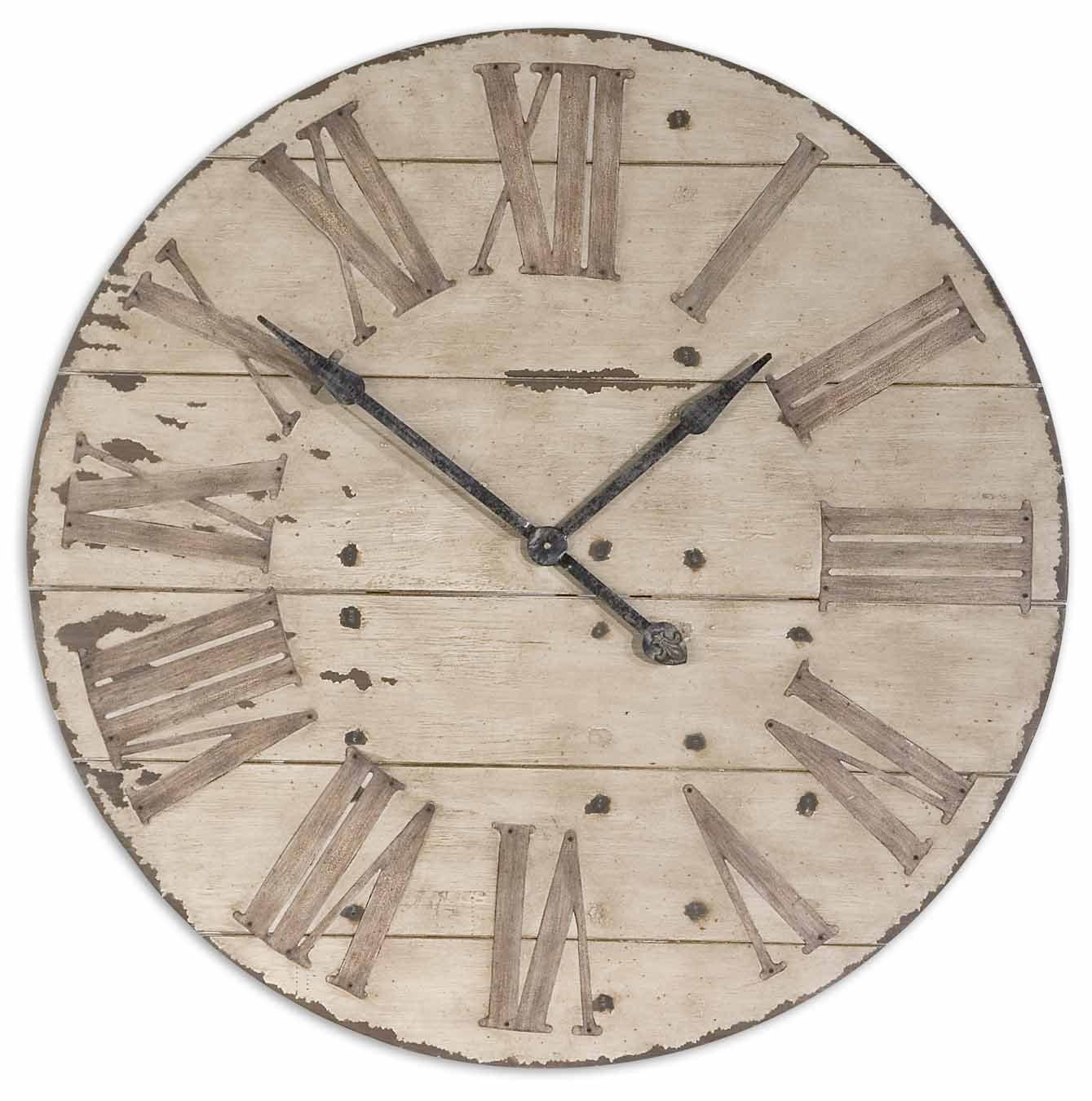Amazon com large 36 lanier rustic wood wall clock home kitchen