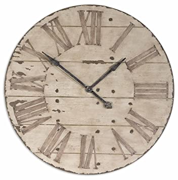 Amazoncom Large 36 Lanier Rustic Wood Wall Clock Home Kitchen