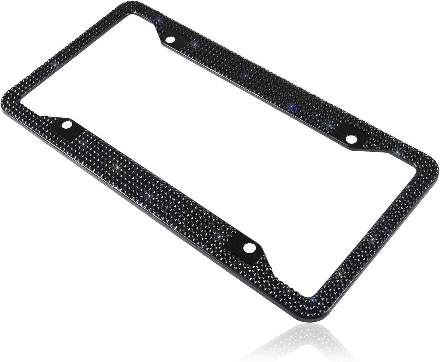 1 Frame Better Solution Fashion 4 Holes Handmade Sparkle Black Bling Crystal License Plate Frame Cover Cute Rhinestone Gift License Plate Holder for Cars,SUV,Truck