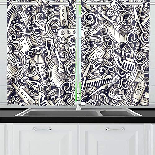 MOVTBA Graphic Hair Salon Hand Drawn Artistic Doodles Sea Kitchen Curtains Window Curtain Tiers for Caf , Bath, Laundry, Living Room Bedroom 26 X 39 Inch 2 Pieces