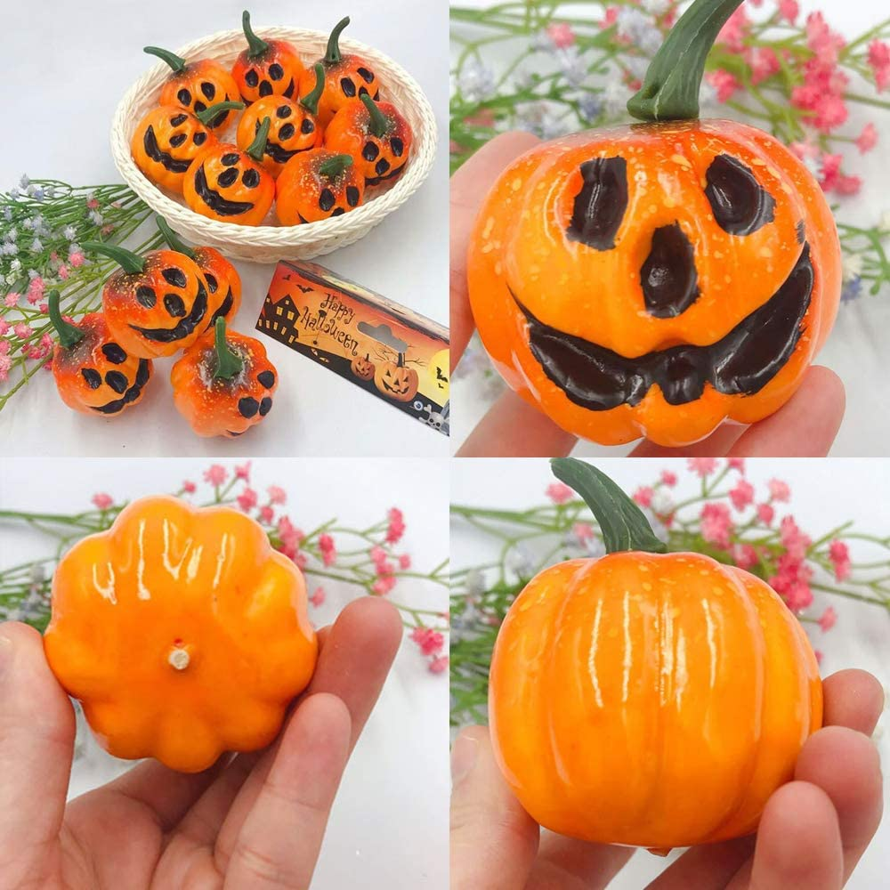 Ghost Pumpkin Fall Thanksgiving Decorating wonuu Fake Mini Pumpkins Artificial Pumpkins Fall Decorations for Halloween