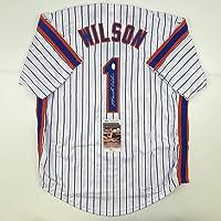 $124 » Autographed/Signed Mookie Wilson New York Pinstripe Baseball Jersey JSA COA