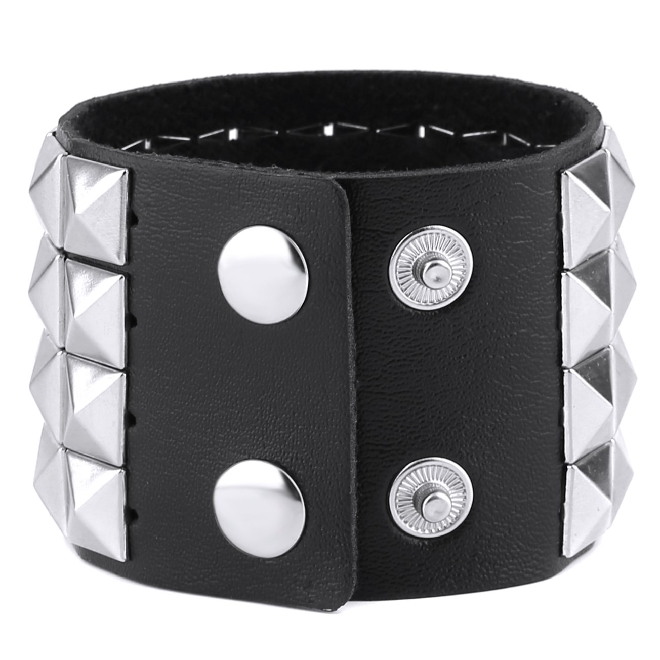 HZMAN Unisex Black Metal Nickel Pyramid Studs Punk Rock Biker Wide Strap Leather Bracelet