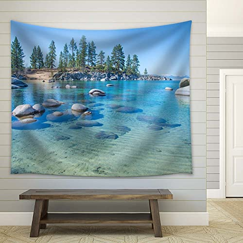 wall26 – Beautiful Blue Clear Water On The Shore of The Lake Tahoe – Fabric Tapestry, Home Decor – 68×80 inches