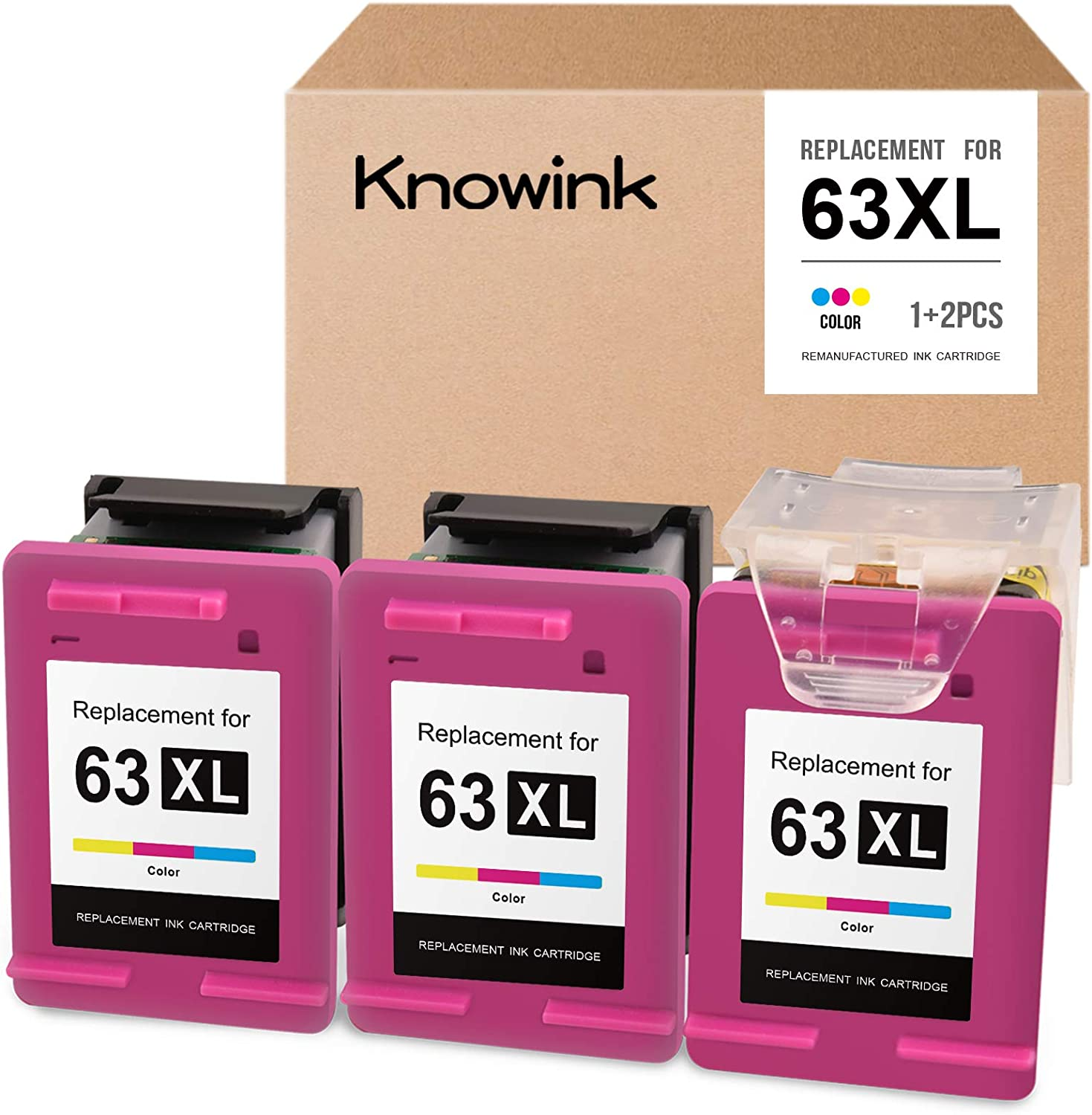 KNOWINK Remanufactured Ink Cartridge Replacement for HP 63 63XL ECO-Saver for OfficeJet 3830 4650 4652 4655 DeskJet 1110 1111 1112 2130 2132 3630 3632 Envy 4520 4512 4516 4520 4522 (3-Pack, Tri-color)