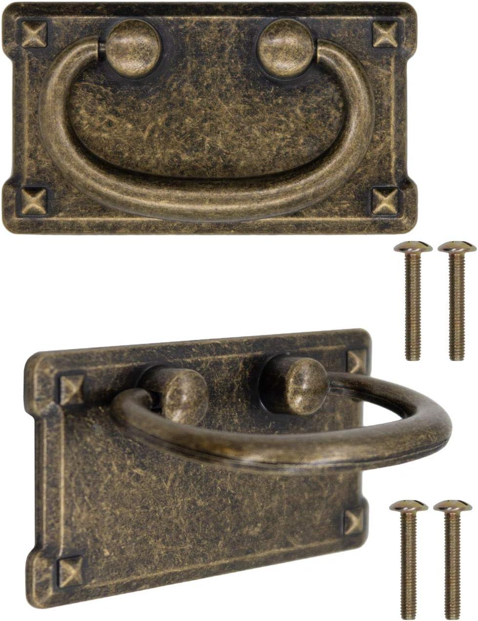 FUXXER® - 2 cajones de diseño antiguo, plegables, diseño de hierro bronce, para puertas de armarios, cómodas, baúles, etc. Vintage Landhaus Retro, juego de 2