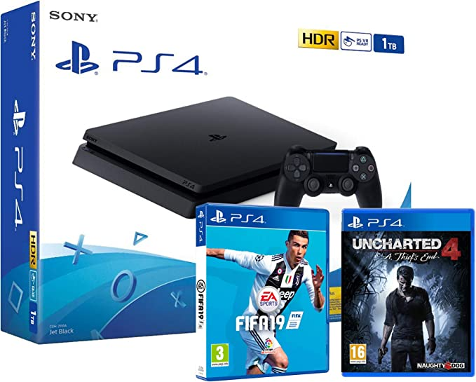 PS4 Slim 1Tb Negra Playstation 4 Consola + FIFA 19 + Uncharted 4 ...