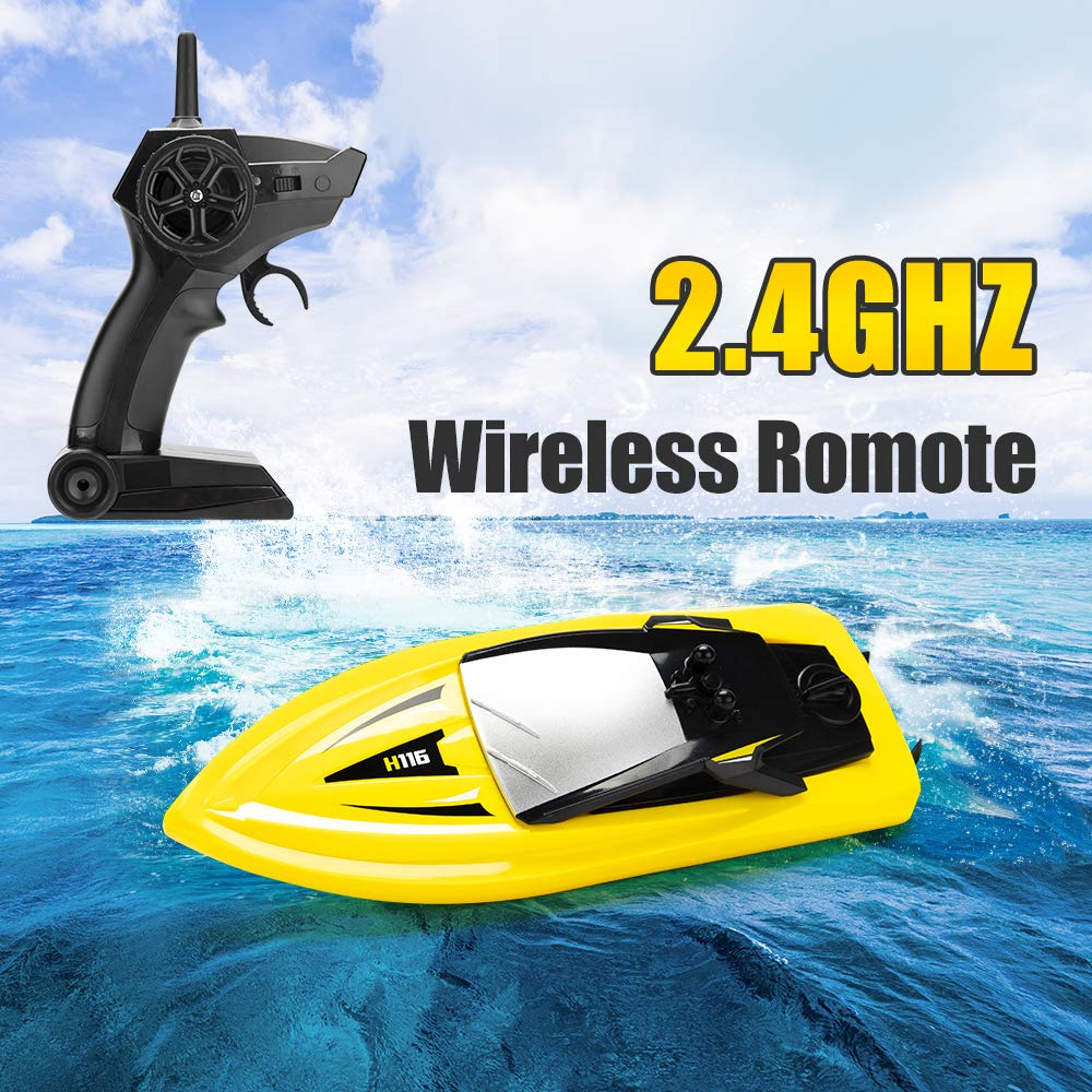 RC Boat Remote Control Boats for Pools and Lakes, ROTOBAND H116 14km/h Self Righting High Speed Boat Toys for Kids Adults Boys Girls(Yellow) by ROTOBAND (Image #4)