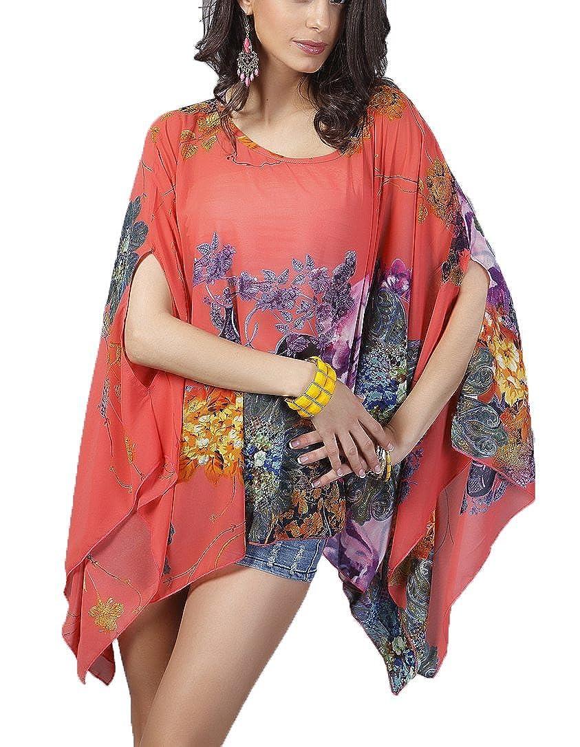 Qunsia Women's Chiffon Caftan Poncho Tunic Top Cover up Batwing Blouse CF003