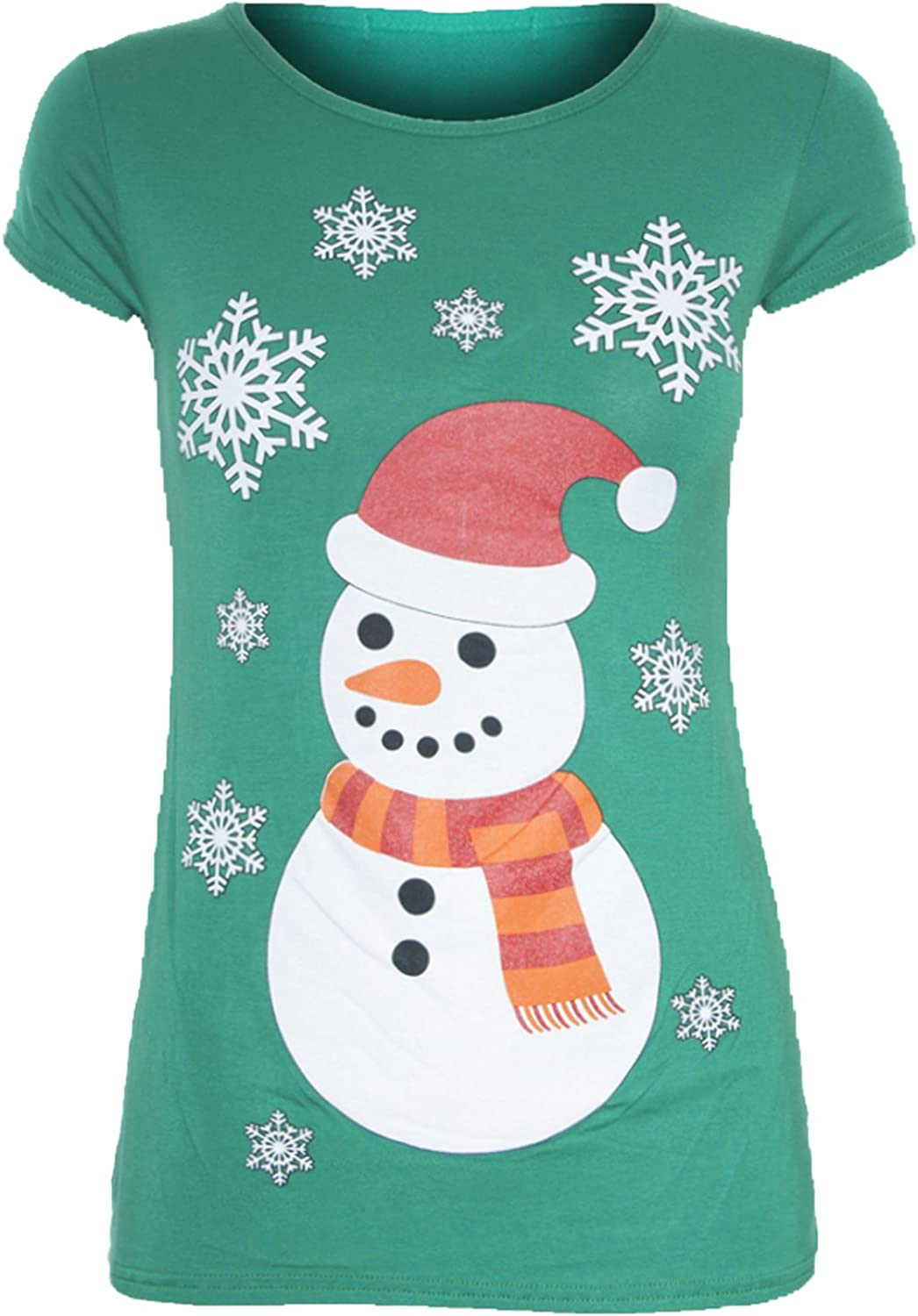 Be Jealous Womens Christmas Cap Sleeve Gingerbread Climb Candy Stick Ladies Xmas Stretchy T Shirt UK Plus Size 8-26