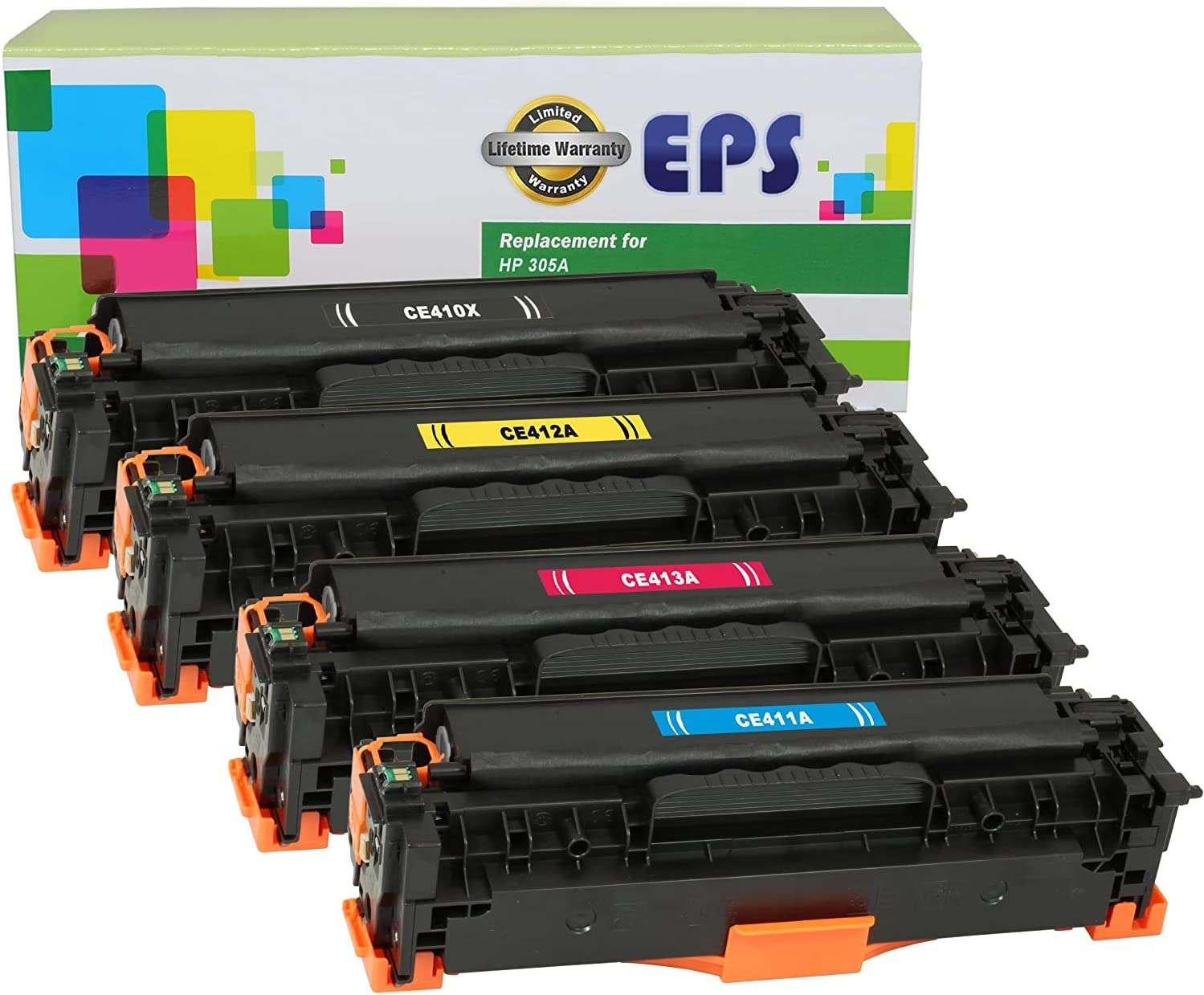 EPS Compatible Toner Cartridge Replacement for HP 305A 305X Laserjet Pro 300 400 Color M451dn, M451dw, M451nw, MFP M475dw, MFP M475dn, MFP M375nw(1B/1C/1M/1Y)