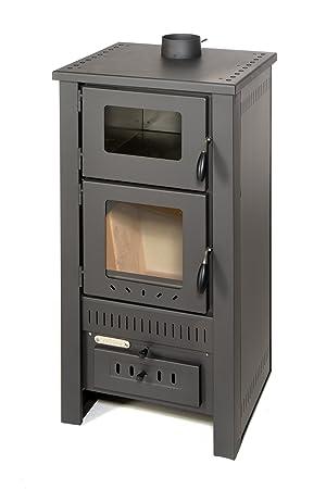Estufa para madera Acerto Santo con horno, para exterior, 12 kW, cristal de