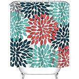 "Uphome Multicolor Dahlia Pinnata Flower Customized Bathroom Shower Curtain - Waterproof and Mildewproof Polyester Fabric Bath Curtain Design,Orange,Blue,Teal,72""W x 72""H"