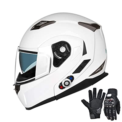 Freedconn Bluetooth Motorcycle Helmet Modular Full Face Helmets DOT Approved Helmet with Wireless Intercom Headsets for Men Women(White, X-Large): Automotive