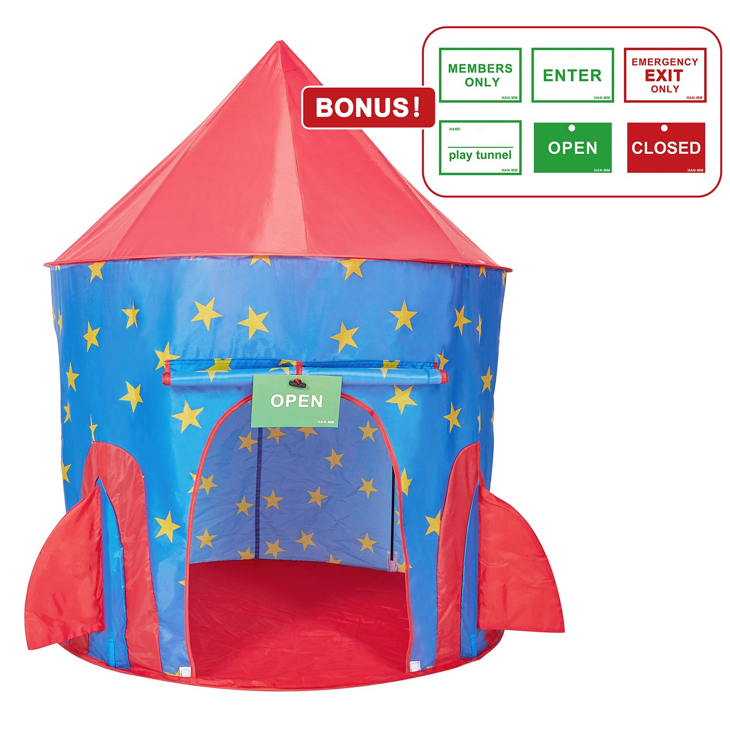 HAN MM Kids Playhouse Rocket Ship Astronaut Tent Hoop Toys with Bonus Message Signs for Indoor Outdoor Camping Children Activity Center Ship Playhouse