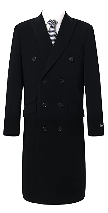 1900s Edwardian Men's Suits and Coats The Platinum Tailor Mens Double Breasted Cashmere & Wool Overcoat Winter Cromby With Velvet Collar & Lining $222.88 AT vintagedancer.com