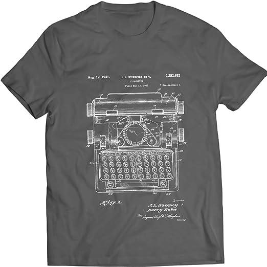 DTG Printing Máquina de Escribir 1941 Camiseta Antigua de la Patentare del Vintage 100% algodón (S, Azul Marino): Amazon.es: Ropa y accesorios