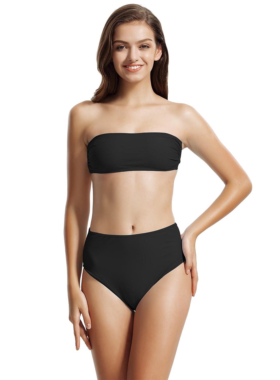 zeraca Women's Bandeau High Waisted Bikini Bathing Suits 81416