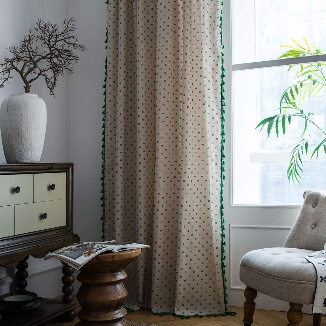 vctops Farmhouse Style Floral Print Cotton Linen Window Curtain Panel with Green Tassels 1 Piece, 59 x 102 Green