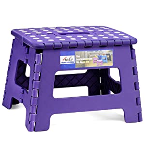 ACSTEP Acko Folding Step Stool Portable Collapsible Plastic Step Stool,9 inch Foldable Step Stool for Kids,Non Slip Folding Stools for Kitchen Bathroom Bedroom (Purple)