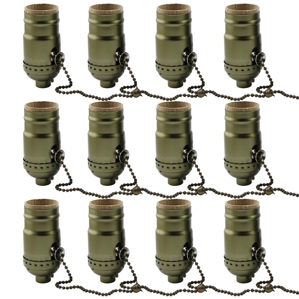 AAF Antique Bronze On/Off Pull Chain Screw Lamp Holder, Diy Light Socket E26 / E27 Base, Pack Of 12 by AAF
