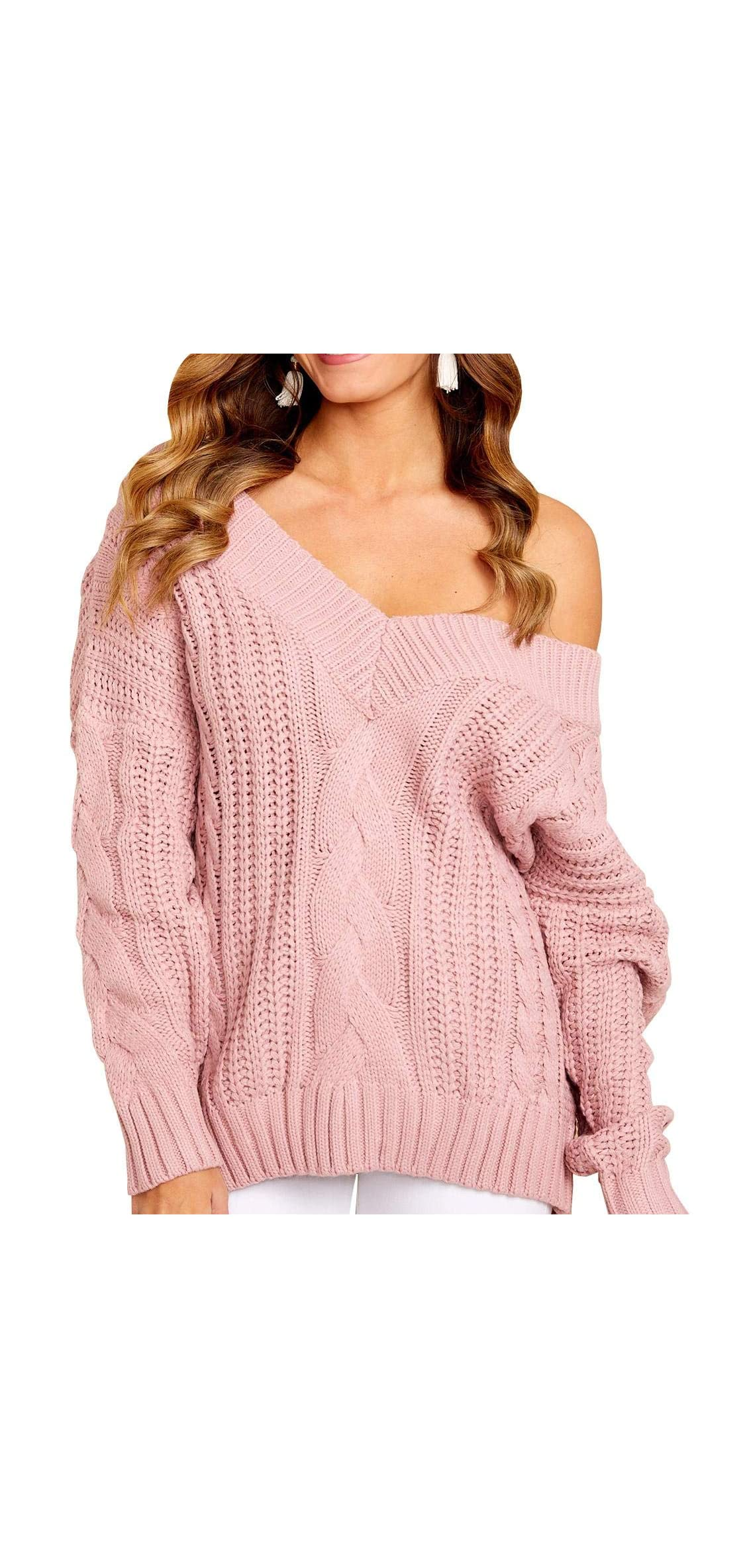 Womens V Neck Cable Knit Sweater Off Shoulder Long