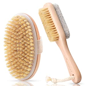 LAYUKI Body Brush for Dry or Wet Brushing and 2-sided Foot File Scrubber Set, Body Scrubber for Bath or Shower, Exfoliating Skin, Cellulite Treatment, Foot File Scrubber with Pumice Stone