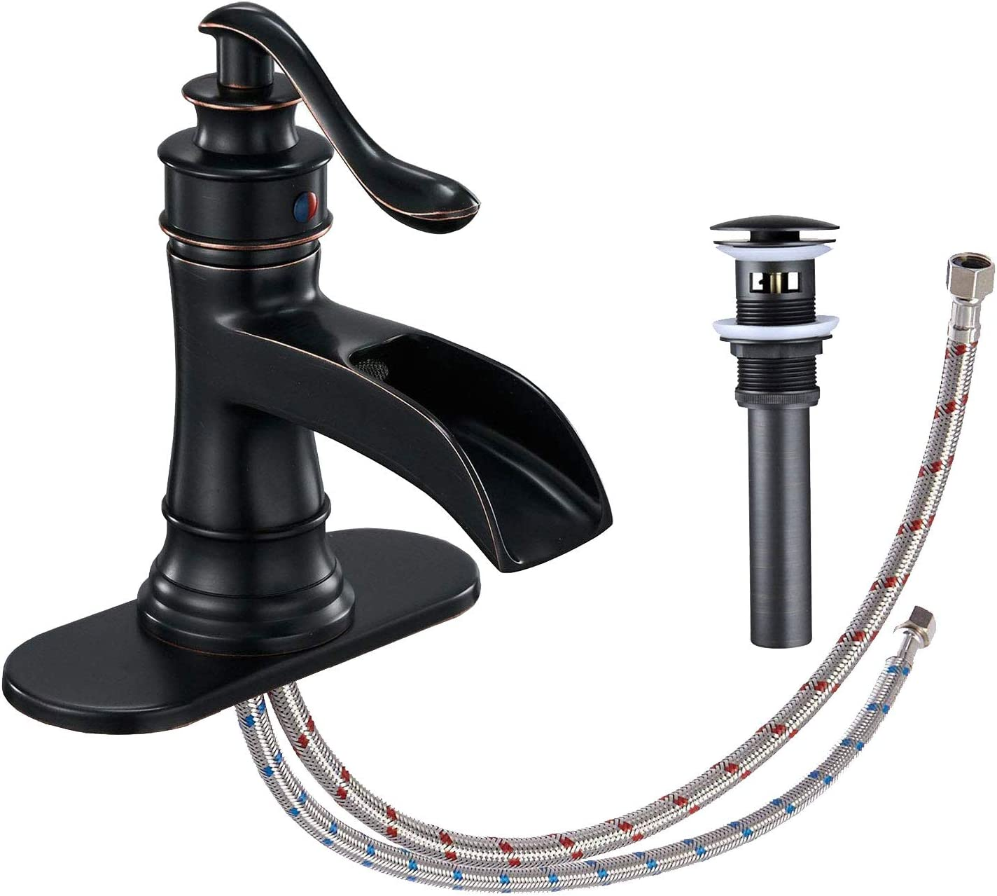 Bathroom Faucet Oil Rubbed Bronze Waterfall Spout Single Handle for Vanity Sink
