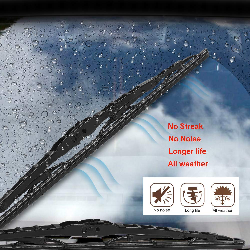 Set of 1 Wiper and 1 Rubber Strip Replaceable W-HERO Windshield Wiper Blade Conventional Blades Universal Fit 18