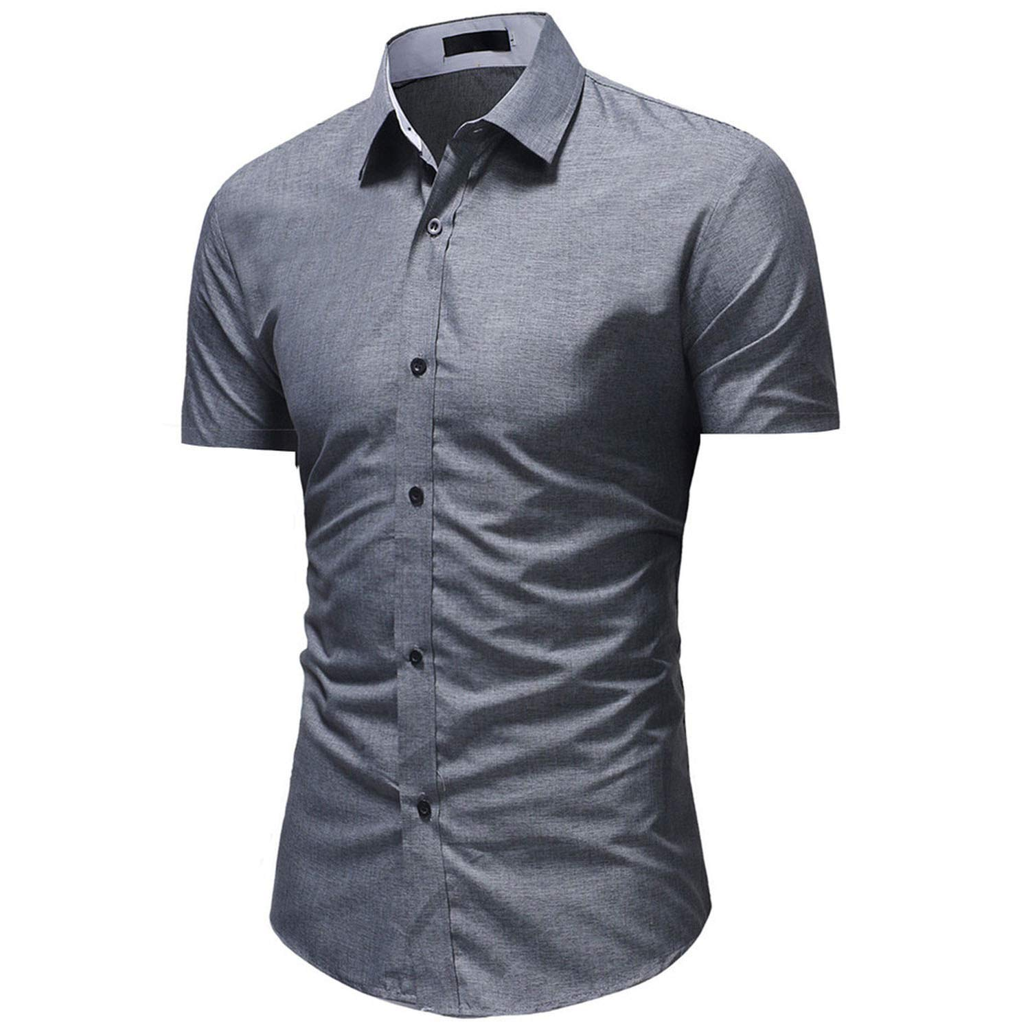 Jamais-Vu 2019 Mens Button Shirt Summer Short Sleeve Casual Button Shirt Slim Fit Shirts,Cinza,XL