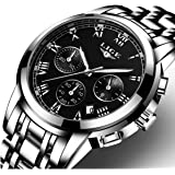 Orologio, Orologi da uomo, Orologi in acciaio inox nero classici di lusso, orologi da polso da uomo in stile business e casual impermeabili e multifunzione con movimento al quarzo