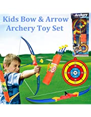 Bow Arrow Set, Womdee Bow Arrow Toy Set for Kids Soft Suction Cup Shooting Children Sports Toys with Target for Kids Outdoor Garden Fun Game