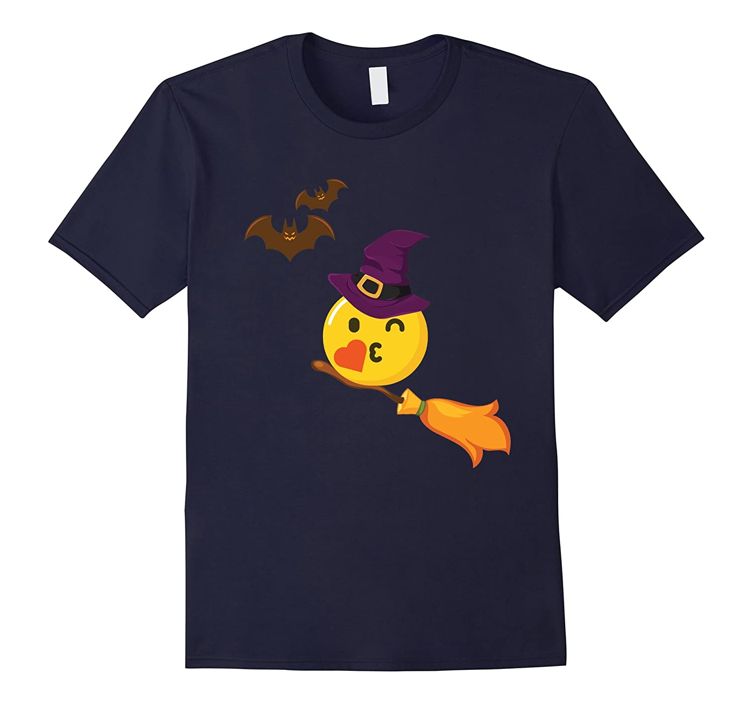 Witch Emoji Halloween Graphic T-shirt Hat And Bats-Rose