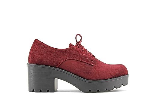 Modelisa - Zapato Blucher Tacón Ancho Mujer (36, Rojo): Amazon.es: Zapatos y complementos