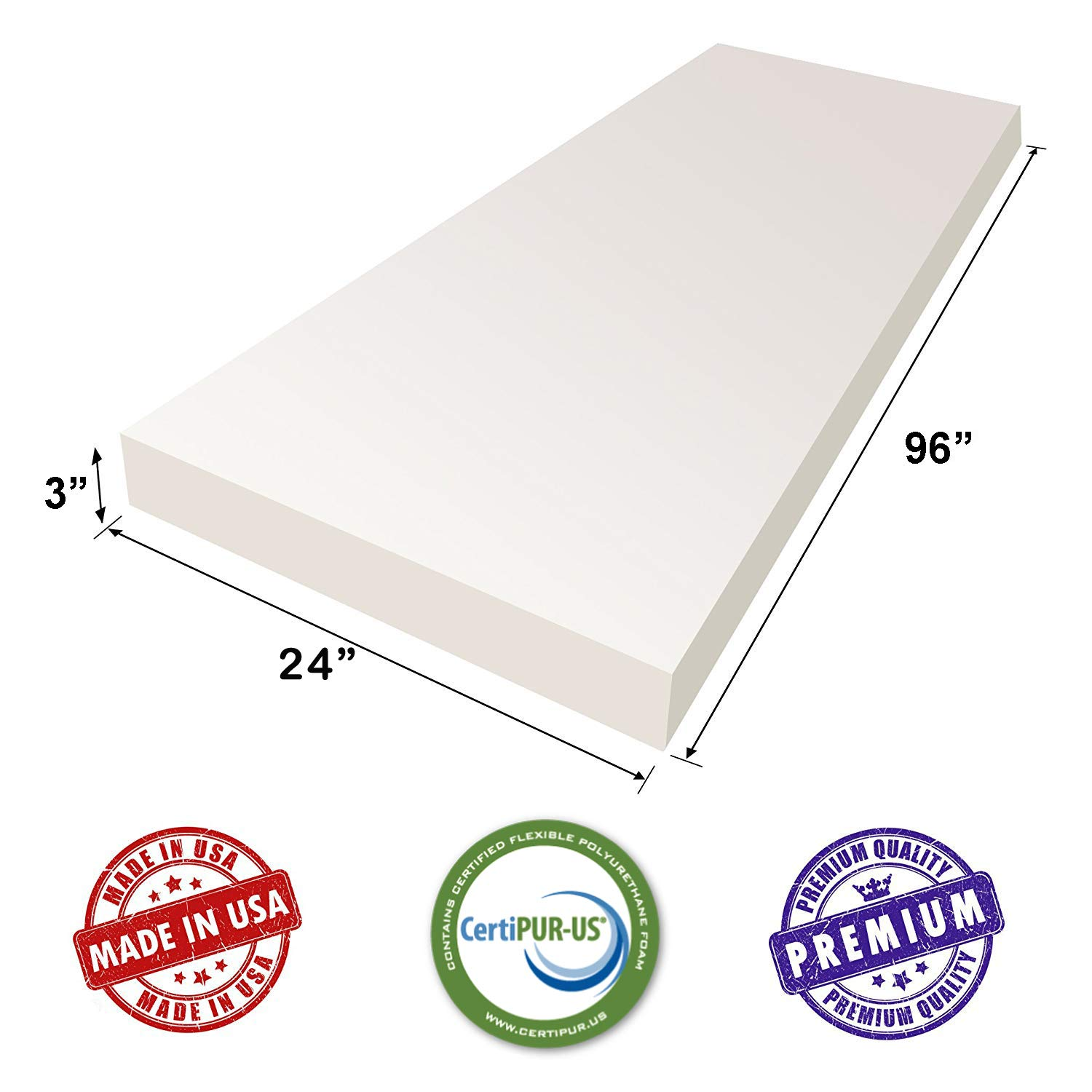 Upholstery Sheet, Foam Padding /& Seat Replacement 3 H X 24 W X 96 L CertiPUR-US Certified Upholstery Foam Cushion AK TRADING CO
