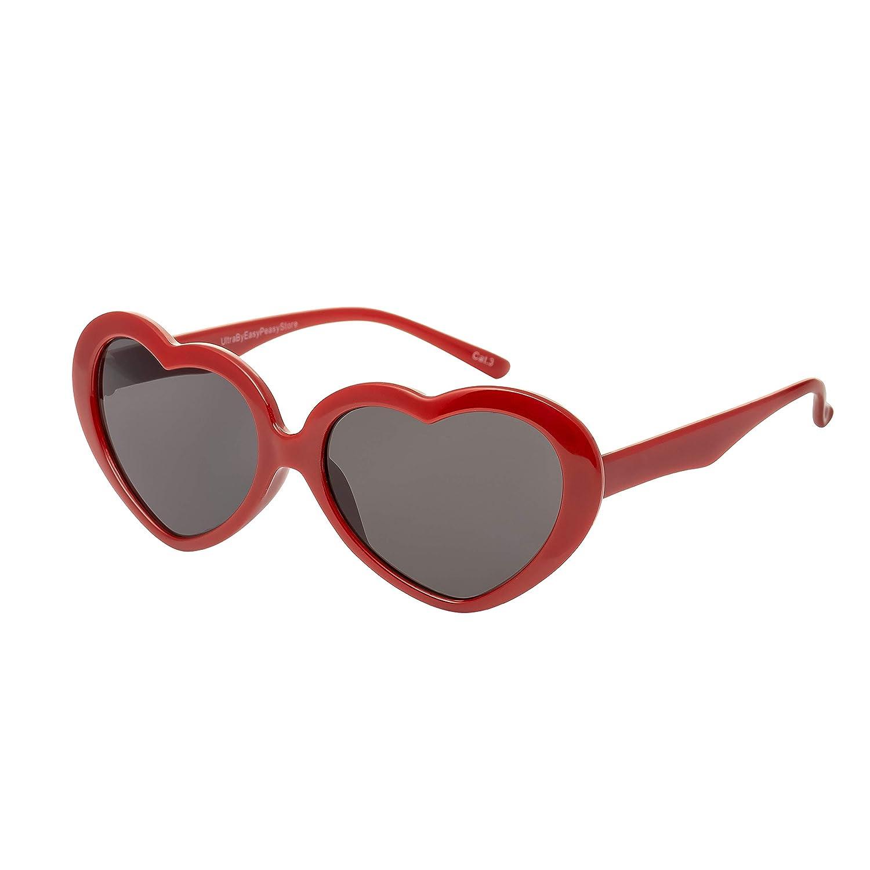 UltraByEasyPeasyStore Rosa Ragazze Occhiali da Sole Bambino Montatura a Forma di Cuore Classici UV400 Protezione UVA UVB Retro Lolita Carino Mode