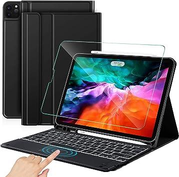 Sross Funda con Teclado para iPad Pro 12.9 2020/2018, English QWERTY iPad Pro 12.9 Pulgada (4ª/3ª Generación) Teclado con Touchpad &Protector de ...