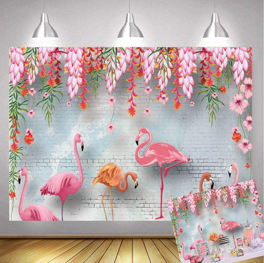 Art Studio 7x5ft Summer Hawaiian Luau Party Photography Backdrops Pink Flamingos Theme Brick Wall Flowers Birthday Party Decoration Photo Studio Booth Backgrounds Banner Vinyl