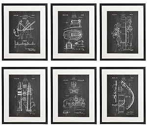 IDIOPIX Firefighter Patent Wall Decor Chalkboard Art Print Set of 6 Prints UNFRAMED No.2