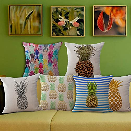 ChezMax Pineapple Stuffed Cushion 2 PCS Cotton Linen Throw Pillow Square Insert for Lounge Saloon Decorations Decor Decorative