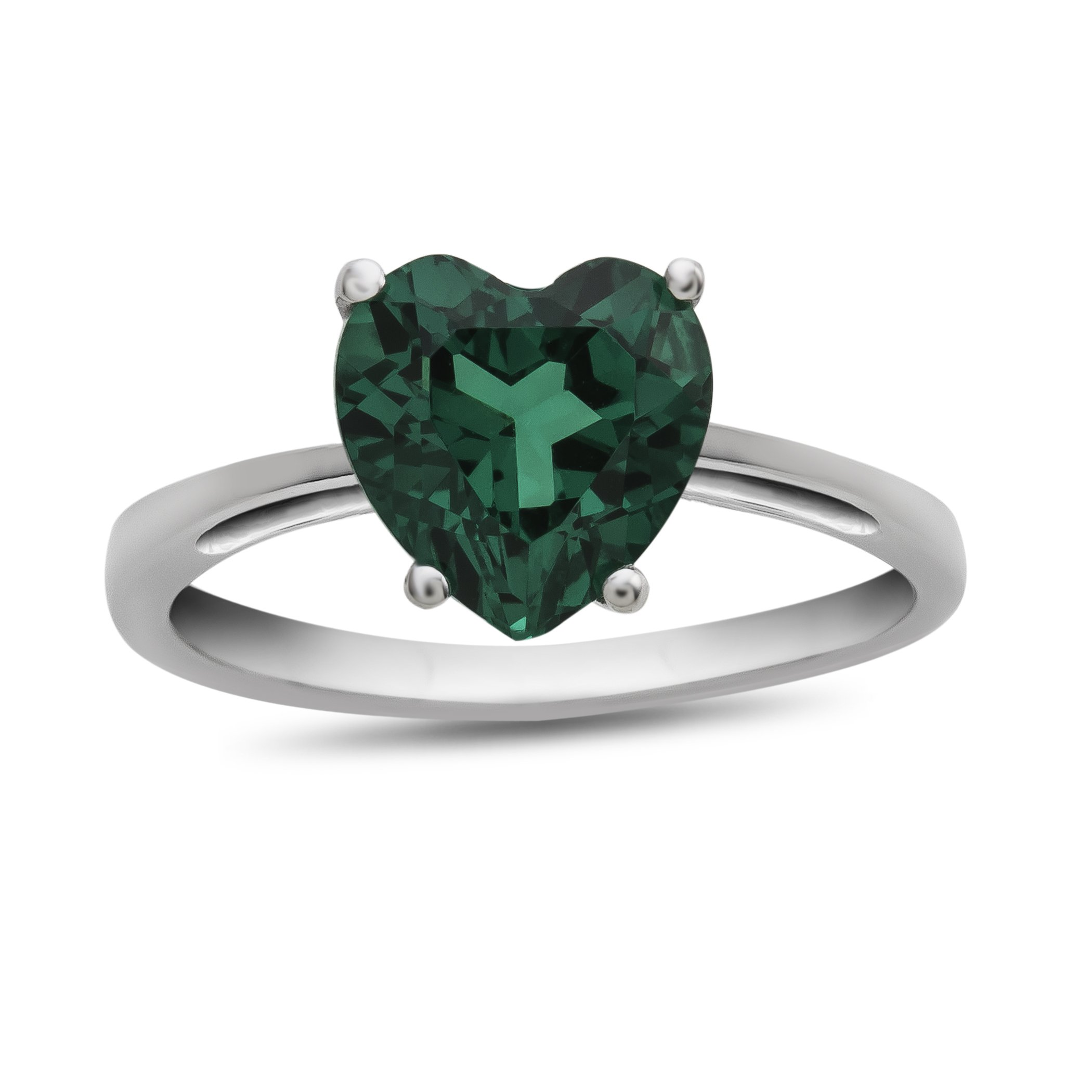10k White Gold 7mm Heart Shaped Simulated Emerald Ring Size 6 by Finejewelers