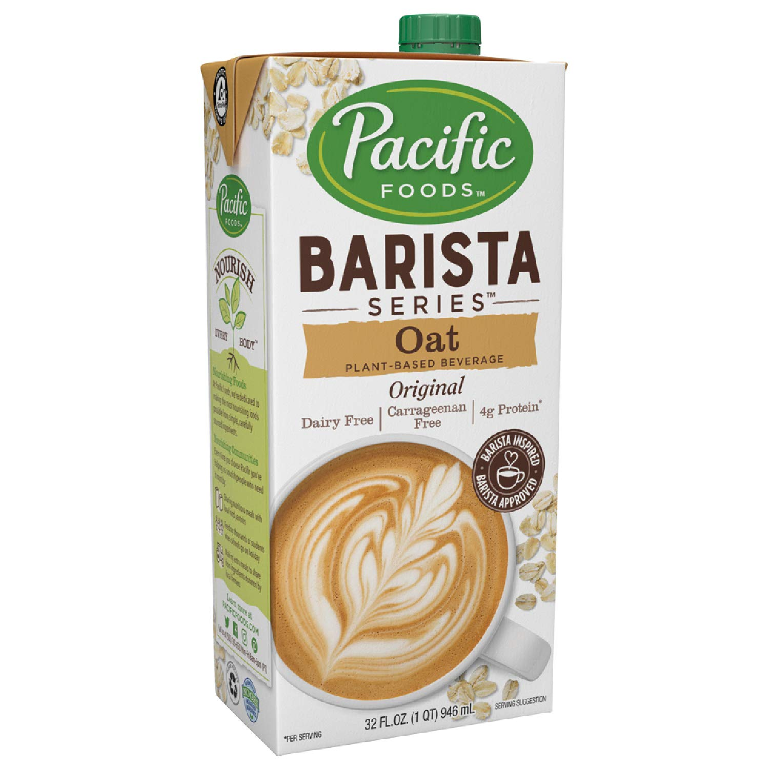 Pacific Foods Oat Milk Barista Series — Non-Dairy Beverage, 32 oz (12 Pack)