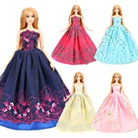 Barwa 5 Fashion Wedding Dresses for 11.5 Inch 30 cm Dolls (Yellow + Pink + Blue + Black + Red)