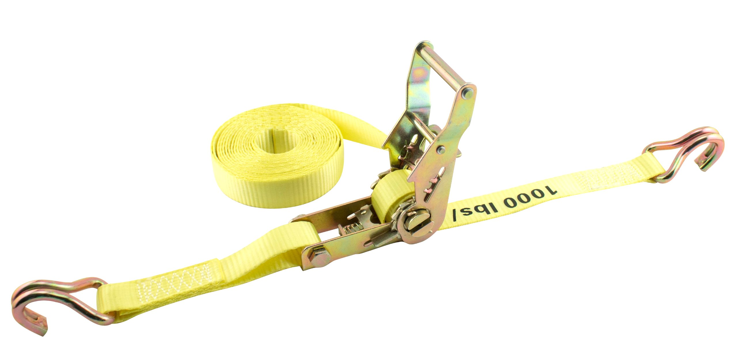 Erickson 01326 Yellow 1'' x 25' Medium Duty Ratcheting Tie-Down Strap, 3000 lb Load Capacity by Erickson