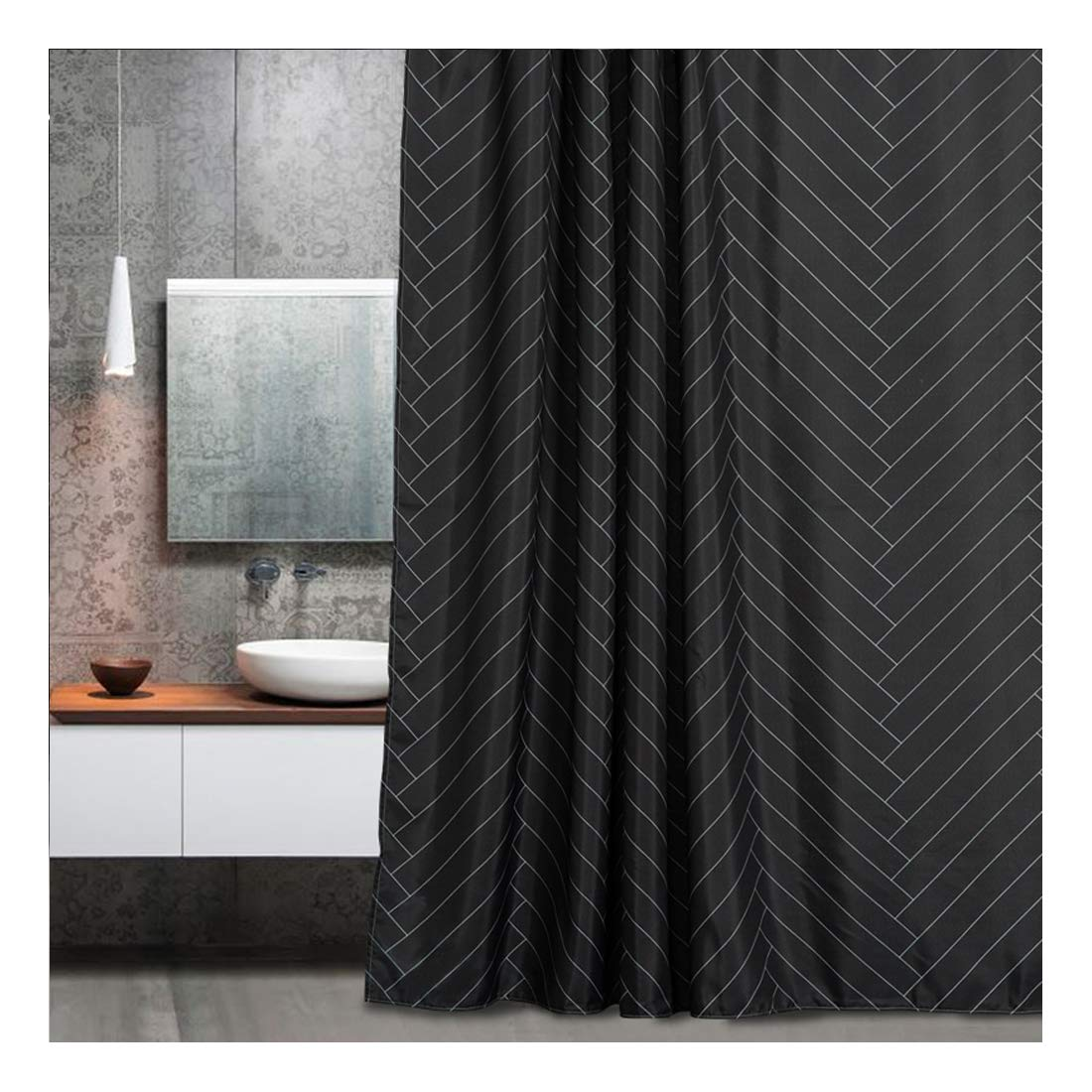 Amazon Aimjerry Fabric Shower Curtain Polyester Striped Mold