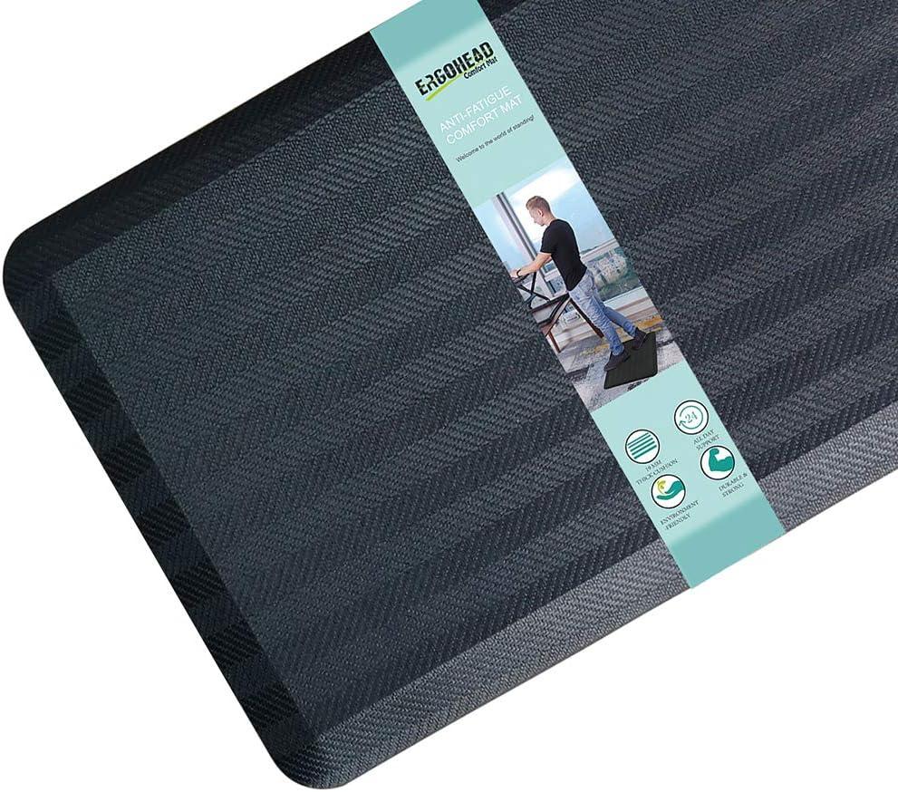 "Ergohead Anti Fatigue Floor Mat Kitchen Mat 3/4"" Thick Foam Waterproof Non Slip Standing Comfort Mat for Standing Desk, Home, Office, Kitchen, Garage Stylish Strip Design (39""x20"", Black)"